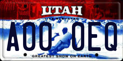 UT license plate A000EQ