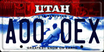 UT license plate A000EX