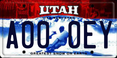 UT license plate A000EY