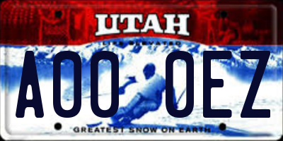UT license plate A000EZ