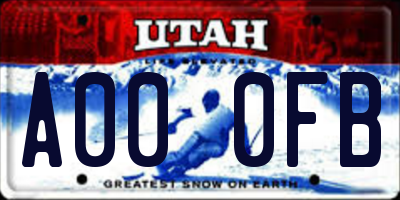 UT license plate A000FB