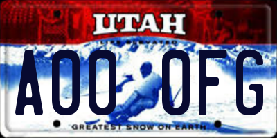 UT license plate A000FG