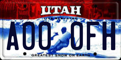 UT license plate A000FH