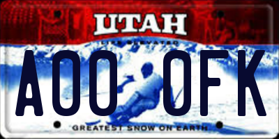 UT license plate A000FK