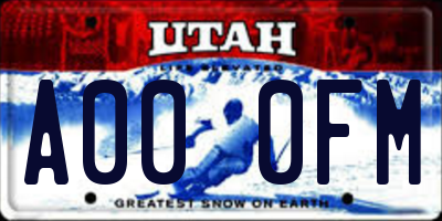 UT license plate A000FM