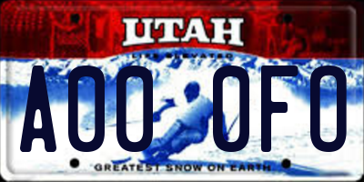 UT license plate A000FO