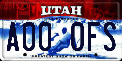 UT license plate A000FS