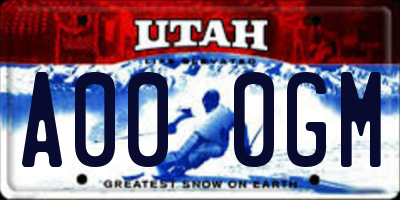 UT license plate A000GM