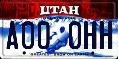 UT license plate A000HH