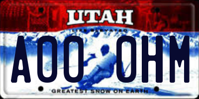 UT license plate A000HM