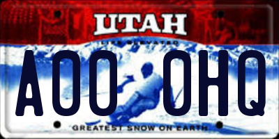 UT license plate A000HQ
