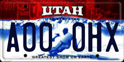 UT license plate A000HX