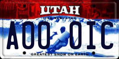 UT license plate A000IC