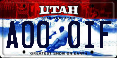 UT license plate A000IF