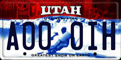 UT license plate A000IH