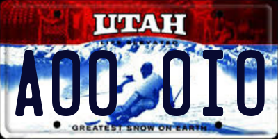 UT license plate A000IO
