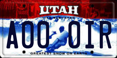 UT license plate A000IR