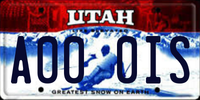 UT license plate A000IS
