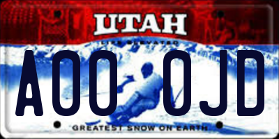 UT license plate A000JD
