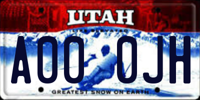 UT license plate A000JH