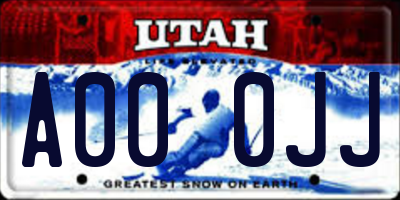 UT license plate A000JJ