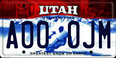 UT license plate A000JM