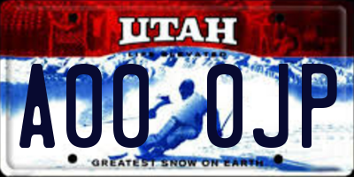 UT license plate A000JP