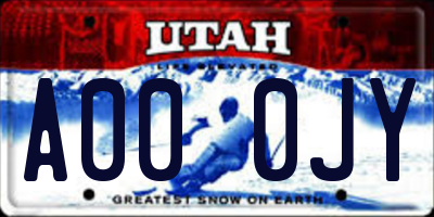 UT license plate A000JY