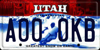 UT license plate A000KB