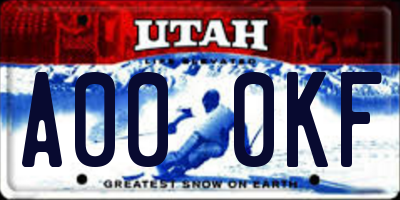 UT license plate A000KF