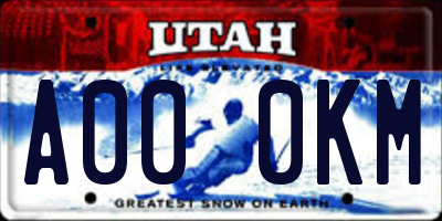 UT license plate A000KM
