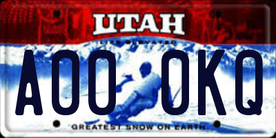 UT license plate A000KQ