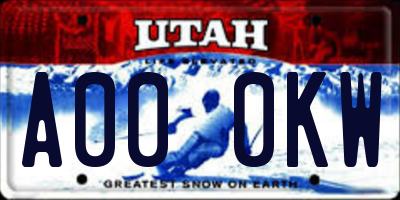 UT license plate A000KW