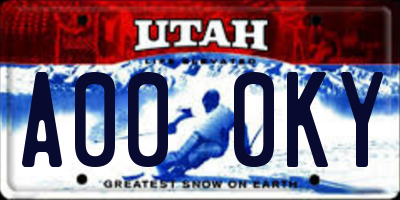UT license plate A000KY