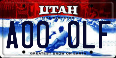 UT license plate A000LF