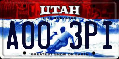 UT license plate A003PI
