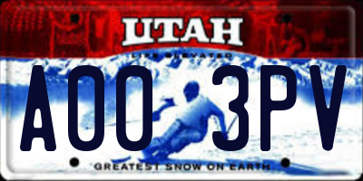 UT license plate A003PV