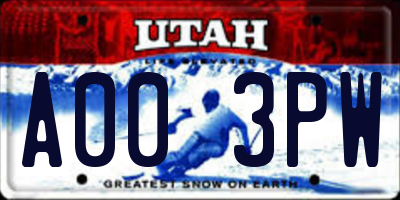UT license plate A003PW