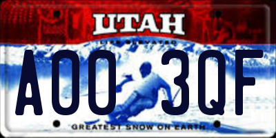 UT license plate A003QF