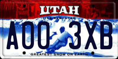 UT license plate A003XB