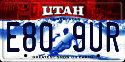 UT license plate E809UR