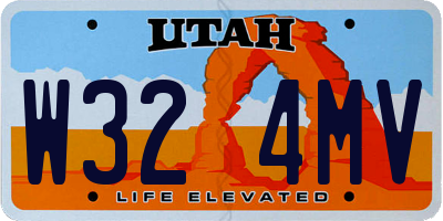UT license plate W324MV