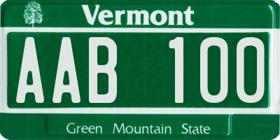 VT license plate AAB100