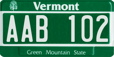 VT license plate AAB102