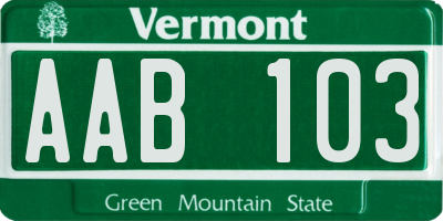 VT license plate AAB103