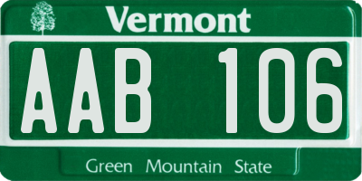 VT license plate AAB106