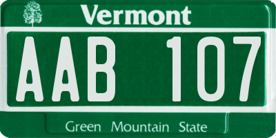 VT license plate AAB107