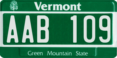 VT license plate AAB109
