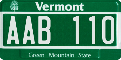 VT license plate AAB110