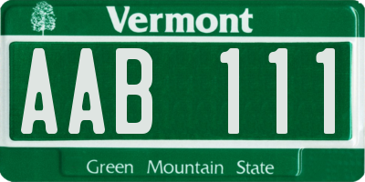 VT license plate AAB111